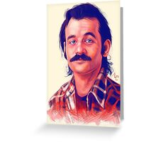 Young Bill Murray mustache digital painting  Greeting Card