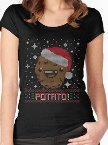 UGLY POTATO CHRISTMAS SWEATER ERMAHGERD!! Women's Fitted Scoop T-Shirt