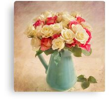 Beautiful bouquet of twenty four roses. Canvas Print