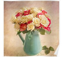 Beautiful bouquet of twenty four roses. Poster