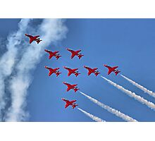 The Red Arrows - Eagle Roll - Farnborough 2014 Photographic Print