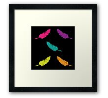 Feather Rave | Neon Colorful Feathers Print Framed Print