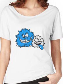 freunde team papa mama kind familie schielen haarig monster wuschelig verrückt lustig comic cartoon zottelig crazy cool gesicht  Women's Relaxed Fit T-Shirt