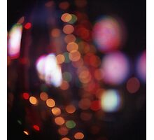 Red purple abstract photo of bokeh lights square Hasselblad 6x6 medium format film analogue photograph Photographic Print