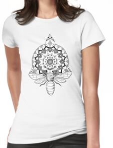 Bumble Bee Mandala Womens Fitted T-Shirt