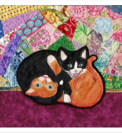 Kittens Playing On Heirloom Quilt Sticker