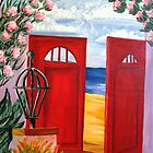 A Red Door to the Beach by WhiteDove Studio kj gordon