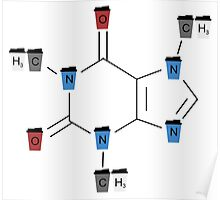 Coloured Coffee Cups Caffeine Molecule on White Poster