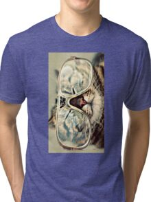 Cat With Glass Tri-blend T-Shirt