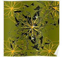 Abstract Golden Flower petals and blots Poster