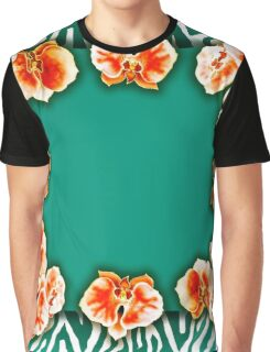 Orchids Teal Graphic T-Shirt