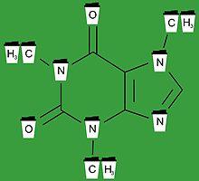 Coffee Cups Caffeine Molecule - Green by smmaca