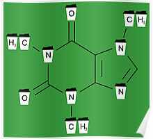 Coffee Cups Caffeine Molecule - Green Poster