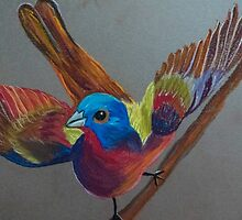 Male painted bunting in pastel by Linda Sparks