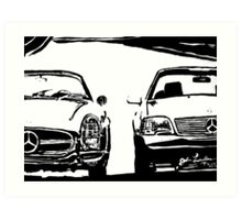 Mercedes Old And New Art Print