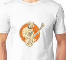 Cowboy Playing Bass Guitar Circle Drawing Unisex T-Shirt