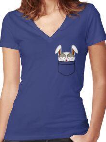 Pocket rabbit Women's Fitted V-Neck T-Shirt