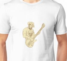 Cowboy Bass Guitar Isolated Drawing Unisex T-Shirt