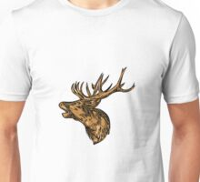 Red Deer Stag Head Roaring Drawing Unisex T-Shirt