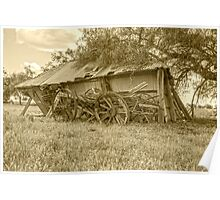 Holding each other up....Wagon & Shed..... Poster