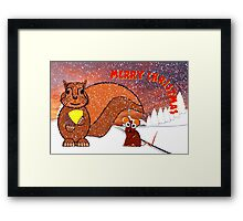 A Squirrel and Mouse Merry Christmas Framed Print