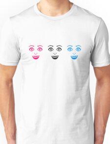 design 3 freundinnen muster frau weiblich girl sexy gesicht grinsen comic cartoon text schrift logo design cool crazy verrückt verwirrt blöd dumm komisch gestört  Unisex T-Shirt