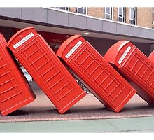 Leaning Telephone Boxes, Kingston by fayraylinac