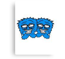 crew team 2 freunde nerd geek schlau hornbrille zahnspange freak pickel haarig monster wuschelig verrückt lustig comic cartoon zottelig crazy cool gesicht  Canvas Print