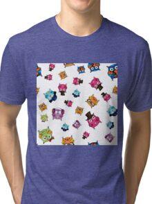 cute owls. hand drawing cartoon characters Tri-blend T-Shirt