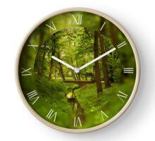 Green spring leafy trees Clock
