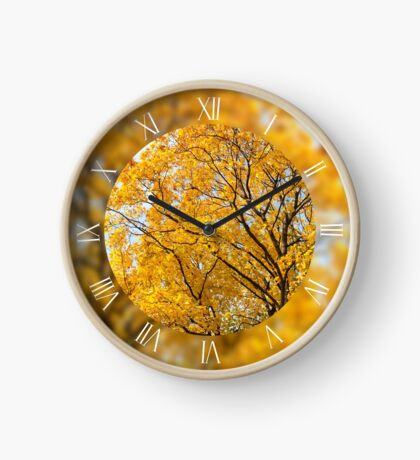 Yellow leafy autumn trees Clock