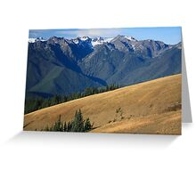 Mount Carrie beyond black-tailed deer on the meadows of Hurricane Ridge, Olympic National Park Greeting Card