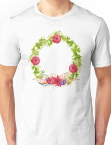 Hand painted watercolor wreath. Unisex T-Shirt