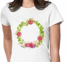 Hand painted watercolor wreath. Womens Fitted T-Shirt