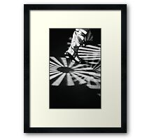 Feet of girl dancing in nightclub lights black and white silver gelatin 35mm film analog photograph Framed Print