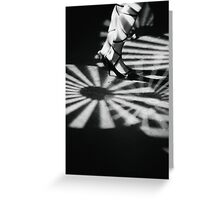 Feet of girl dancing in nightclub lights black and white silver gelatin 35mm film analog photograph Greeting Card