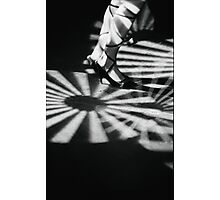 Feet of girl dancing in nightclub lights black and white silver gelatin 35mm film analog photograph Photographic Print