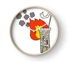 cartoon old castle tower waving white flag Clock