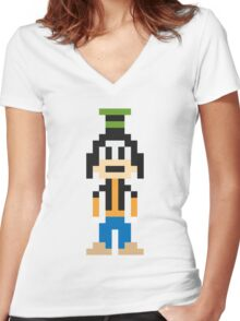 Goofy 8-Bit Women's Fitted V-Neck T-Shirt