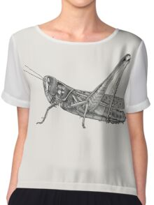 Black and white grasshopper pointillism insect Chiffon Top