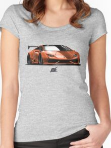 naquash design lamborghini huracan - orange and black top  Women's Fitted Scoop T-Shirt