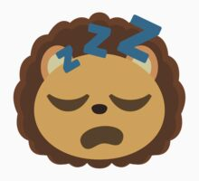 Cute Lion Emoji Sleepy and ZZZ Face Baby Tee