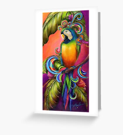 Paradise Paisley Parrot Greeting Card