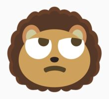 Cute Lion Emoji Thinking Hard and Hmm Look Kids Tee