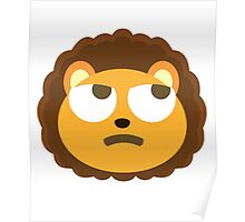 Cute Lion Emoji Thinking Hard and Hmm Look Poster