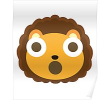 Cute Lion Emoji Shocked and Surprised Look Poster