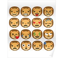 Funny Lion Emoji Different Facial Expressions Poster