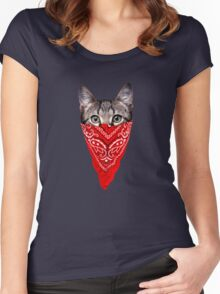 Gangster Cat Guar Women's Fitted Scoop T-Shirt