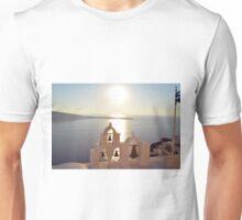 Church bells at sunset in Santorini, Greece Unisex T-Shirt