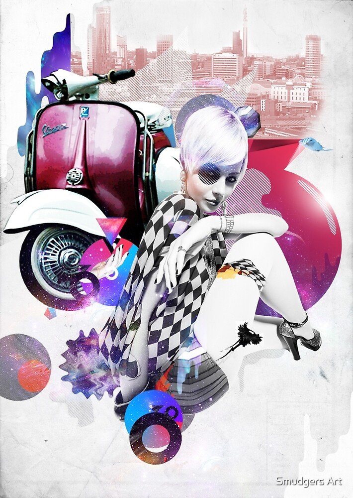 Up Town Top Scooter Girl by Smudgers Art